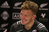 Damian McKenzie, the New Zealand Allblacks rugby player speaks to the media during the New Zealand rugby team announcement press conference at the Hilton Hotel in Cardiff , South Wales on Thursday 23rd November 2017.  the team are preparing for their Autumn International series test match against Wales in Cardiff this weekend.   pic by Andrew Orchard