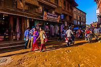 Street scene, Bhaktapur, Kathmandu Valley, Nepal.