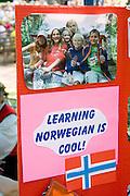 Norwegian language school poster. Svenskarnas Dag Swedish Heritage Day Minnehaha Park Minneapolis Minnesota USA