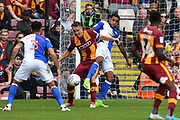 Blackburn Rovers midfielder Richard Smallwood (6) and Bradford City defender Anthony McMahon (29) in bradford goal area  during the EFL Sky Bet League 1 match between Bradford City and Blackburn Rovers at the Northern Commercials Stadium, Bradford, England on 19 August 2017. Photo by Ian Lyall.
