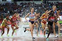 London, August 09 2017 . Lennie Waite, Great Britain, surges to the front group in the women's 3,000m steeplechase heats on day six of the IAAF London 2017 world Championships at the London Stadium. © Paul Davey.