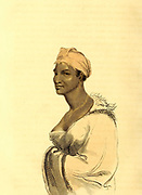 Kaffer Woman from the book Travels into the interior of southern Africa : in which are described the character and the condition of the Dutch colonists of the Cape of Good Hope, and of the several tribes of natives beyond its limits : the natural history of such subjects as occurred in the animal, mineral and vegetable kingdoms; and the geography of the southern extremity of Africa : comprehending also a topographical and statistical sketch of Cape Colony; with an inquiry into its importance as a naval and military station, as a commercial emporium; as a territorial possession By Sir John Barrow, and illustrated by Samuel Daniell Published in London in 1806