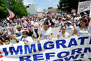 Thousands of Hispanics get ready to walk to Dallas City Hall during the MegaMarch for Immigration Reform,  May 01, 2010