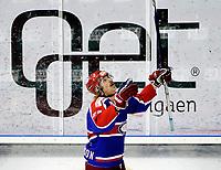 Ishockey<br /> Getligaen 2010<br /> Jordal Amfi<br /> NM Finale 1<br /> 07.04.10<br /> Vålerenga Hockey VIF - Stavanger<br /> Shay Stephensen feirer mål<br /> Foto: Eirik Førde