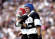 Twickenham. England. RFU Stadium, Surrey. <br /> Photo Peter Spurrier25/05/2003<br /> 2003 - Rugby - England v Barbarians.left Jonathan Bell and David Humphreys adjust their gum shields         [Mandatory Credit: Peter SPURRIER/Intersport Images]