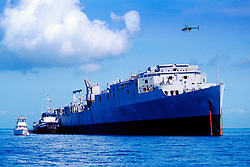 Spiegel Grove, 510 foot U.S. Navy Landing .Ship Dock (LSD), awaites to become the .largest artifitial reef ever created (May 2002), .Key Largo, Florida Keys NMS (Atlantic).