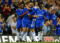 Photograph: Scott Heavey.<br />Chelsea v MSK Zilina, Champions League qualifier, second leg from Stamford Bridge. 26/08/2003.<br />Robert Huth  puts the home side 2-0 ahead