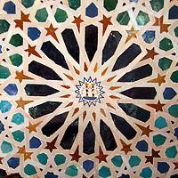Europe, Spain, Granada. Mosaic art of the Alhambra.