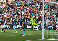 Football - 2016 / 2017 Premier League - West Ham United vs. Middesborough <br /> <br /> Victor Valdes of Middlesborough can only watch as the ball strikes his bar <br />  at The London Stadium.<br /> <br /> COLORSPORT/DANIEL BEARHAM