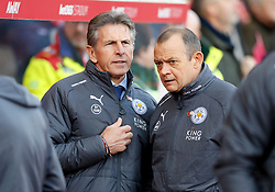 Leicester City manager Claude Puel (left) and assistant Pascal Plancque (right)
