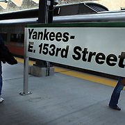 Fans arrive at Yankees E.153rd Street station before the New York Yankees V Detroit Tigers Baseball game at Yankee Stadium, The Bronx, New York. 28th April 2012. Photo Tim Clayton