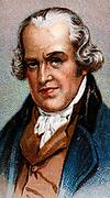 James Watt (1736-1819) Scottish engineer and inventor. Condensing steam engine. Chromolithograph