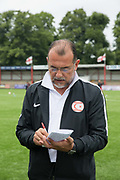 Mustafa Boratas, head coach for Northern Cyprus. Northern Cyprus 3 v Padania 2 during the Conifa Paddy Power World Football Cup semi finals on the 7th June 2018 at Carshalton Athletic Football Club in the United Kingdom. The CONIFA World Football Cup is an international football tournament organised by CONIFA, an umbrella association for states, minorities, stateless peoples and regions unaffiliated with FIFA.