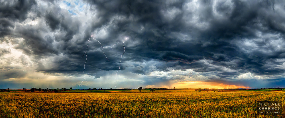 Storm clouds pass over wheatfields illuminated by late afternoon light, as lightning strikes nearby.<br /> <br /> Code: CANN0001<br /> <br /> Limited Edition Print