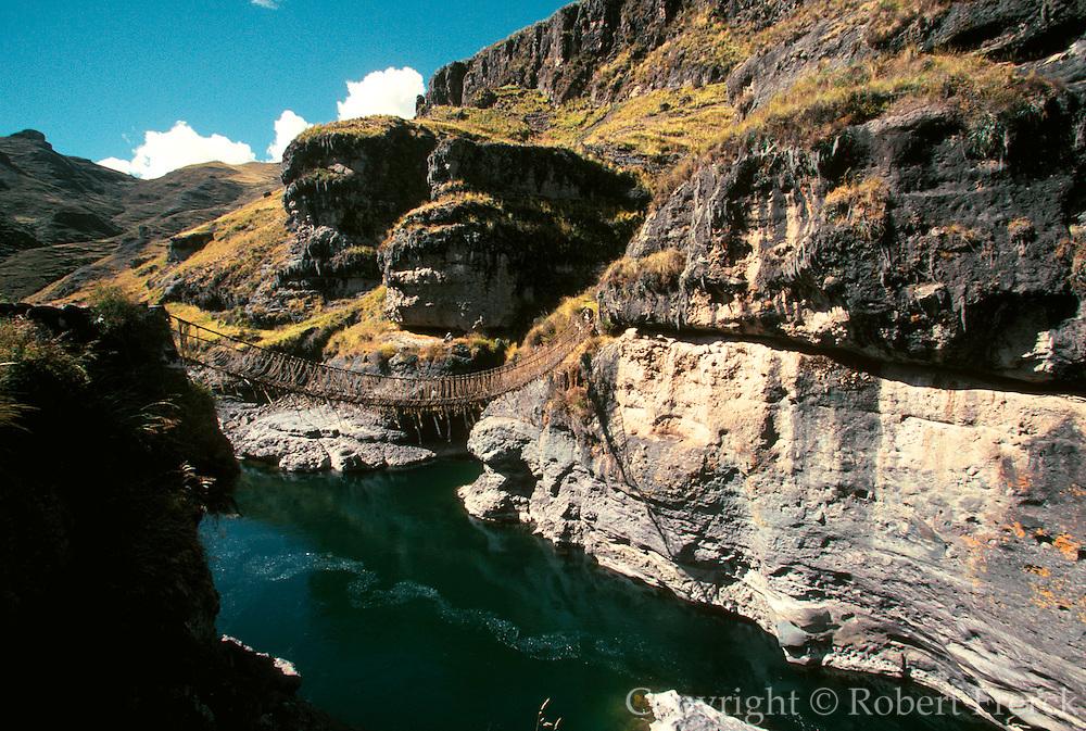 PERU, ALTIPLANO, INCA ROAD Inca bridge over Apurimac River