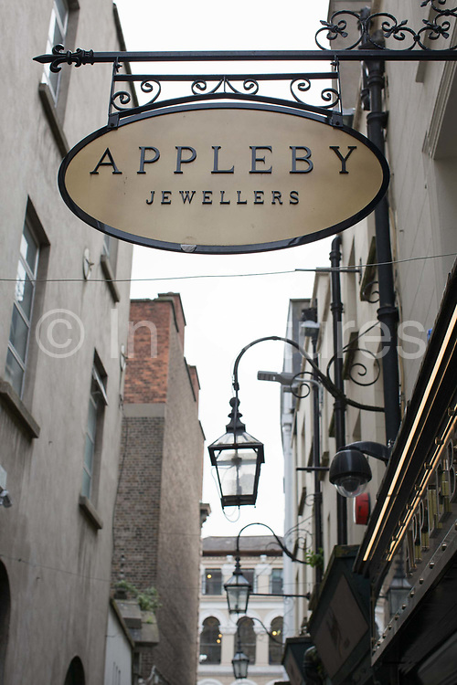 Johnsons Court on 04th April 2017 in Dublin, Republic of Ireland. Johnsons Court, off Grafton Street, is an intimate street where a number of Jewellers sell luxury items. Dublin is the largest city and capital of the Republic of Ireland.