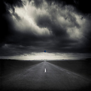 Moody landscape in black and white with a small blue balloon<br /> Redbubble: https://rdbl.co/2qXcUD9<br /> Society6: https://bit.ly/2vJ8Prh