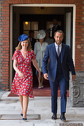 James Middleton and Lady Laura Marsham arrive for the christening of Prince Louis, the youngest son of the Duke and Duchess of Cambridge at the Chapel Royal, St James's Palace, London.