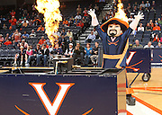 Nov. 15, 2010; Charlottesville, VA, USA; The Virginia Cavalier mascot opens the game against the USC Upstate Spartans at the John Paul Jones Arena.  Mandatory Credit: Andrew Shurtleff-