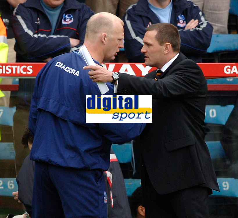 Photo: Daniel Hambury.<br />Crystal Palace v Watford. Coca Cola Championship. Play off Semi-Final, First Leg. 06/05/2006.<br />Palace's Iain Dowie and Watford's Adrian Bothroyd wish each other good luck at the start of the match.