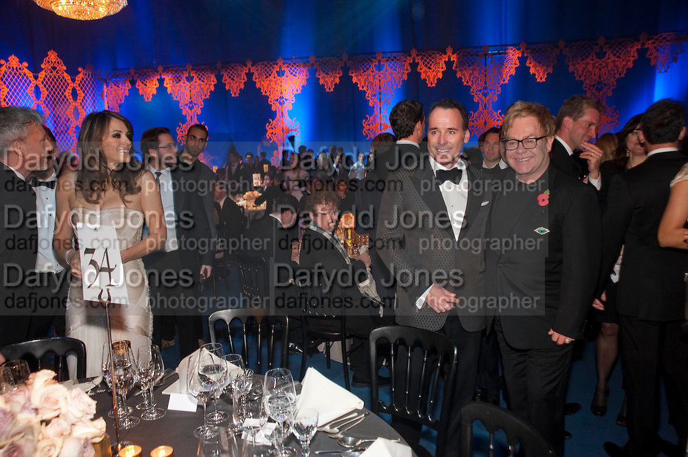 ELIZABETH HURLEY; DAVID FURNISH; SIR ELTON JOHN, Grey Goose character and cocktails. The Elton John Aids Foundation Winter Ball. off Nine Elms Lane. London SW8. 30 October 2010. -DO NOT ARCHIVE-© Copyright Photograph by Dafydd Jones. 248 Clapham Rd. London SW9 0PZ. Tel 0207 820 0771. www.dafjones.com.