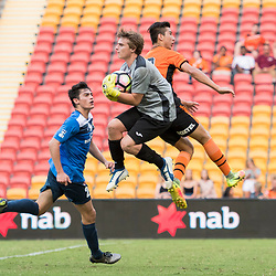 BRISBANE, AUSTRALIA - MARCH 25: Anthony Passante of SWQ Thunder collects the ball during the round 5 NPL Queensland match between the Brisbane Roar and SWQ Thunder at Suncorp Stadium on March 25, 2017 in Brisbane, Australia. (Photo by Patrick Kearney/Brisbane Roar)
