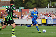 AFC Wimbledon midfielder Dean Parrett (18) dribbling during the EFL Sky Bet League 1 match between AFC Wimbledon and Doncaster Rovers at the Cherry Red Records Stadium, Kingston, England on 26 August 2017. Photo by Matthew Redman.