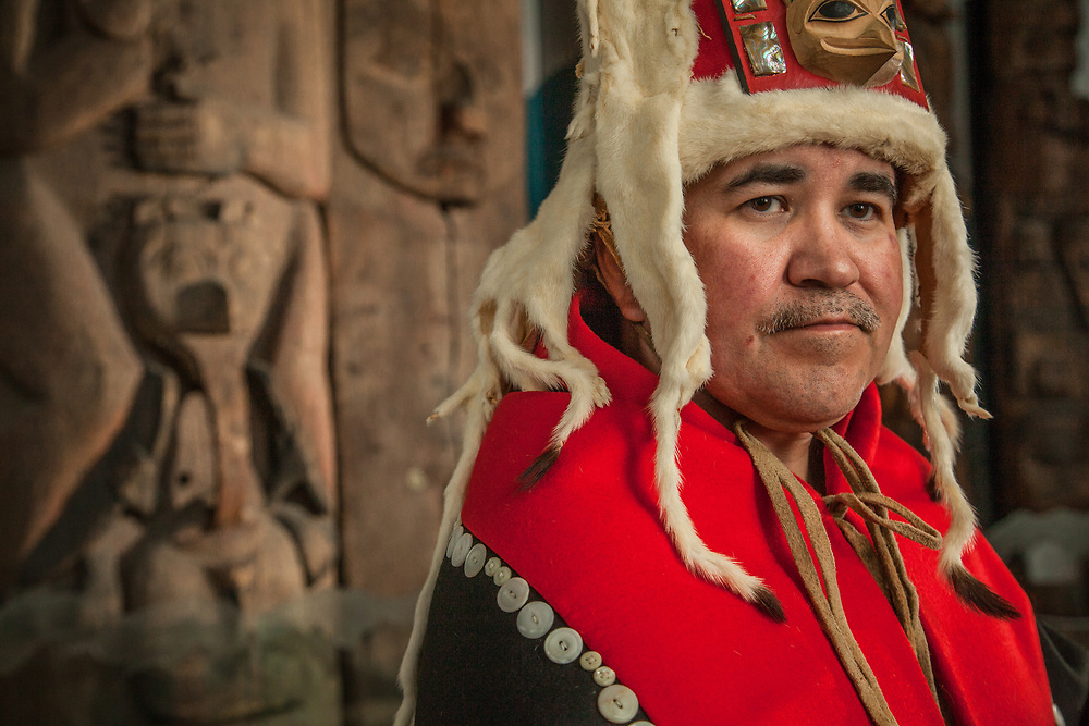 Chuck Miller wears his button robe and headress carved by Wayne Price.  Totem National Historic Park, Sitka  chuck.miller@sitkatribe-nsn.gov  907-738-4025