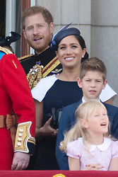 © Licensed to London News Pictures. 08/06/2019. London, UK. Prince Harry and Meghan, Duchess of Sussex attend Trooping the Colour ceremony to mark Queen Elizabeth II's 93rd birthday. Photo credit: Ray Tang/LNP