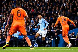 Leroy Sane of Manchester City takes on Pape Cheikh of Lyon - Mandatory by-line: Robbie Stephenson/JMP - 19/09/2018 - FOOTBALL - Etihad Stadium - Manchester, England - Manchester City v Lyon - UEFA Champions League Group F