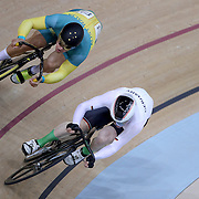 Track Cycling - Olympics: Day 8  Matthew Glaetzer #72 of Australia and Joachim Eilers #106 of Germany in action during the Men's Sprint Quarterfinals during the track cycling competition at the Rio Olympic Velodrome August 12, 2016 in Rio de Janeiro, Brazil. (Photo by Tim Clayton/Corbis via Getty Images)