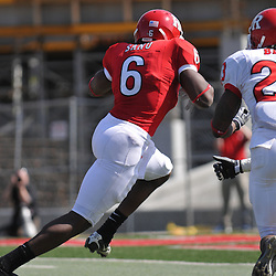 Apr 18, 2009; Piscataway, NJ, USA; Rutgers WR Manny Abreu (6) runs past defenders for a touchdown during the second half of Rutgers' Scarlet and White spring football scrimmage.