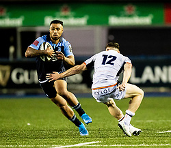 Willis Halaholo of Cardiff Blues evades the tackle of George Taylor of Edinburgh Rugby<br /> <br /> Photographer Simon King/Replay Images<br /> <br /> Guinness PRO14 Round 2 - Cardiff Blues v Edinburgh - Saturday 5th October 2019 -Cardiff Arms Park - Cardiff<br /> <br /> World Copyright © Replay Images . All rights reserved. info@replayimages.co.uk - http://replayimages.co.uk