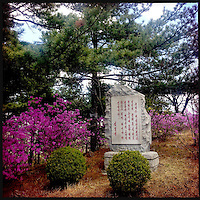 A stone plaque with Korean script at a small temple in Pyongyang, North Korea.