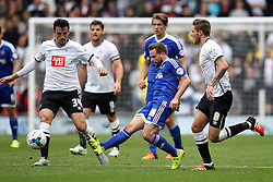 Alan Judge of Brentford passes under pressure from Jeff Hendrick of Derby County and George Thorne of Derby County - Mandatory byline: Robbie Stephenson/JMP - 07966 386802 - 03/10/2015 - FOOTBALL - iPro Stadium - Derby, England - Derby County v Brentford - Sky Bet Championship