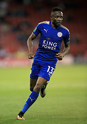 """Leicester City's Ahmed Musa during the Carabao Cup, Second Round match at Bramall Lane, Sheffield. PRESS ASSOCIATION Photo. Picture date: Tuesday August 22, 2017. See PA story SOCCER Sheff Utd. Photo credit should read: Tim Goode/PA Wire. RESTRICTIONS: EDITORIAL USE ONLY No use with unauthorised audio, video, data, fixture lists, club/league logos or """"live"""" services. Online in-match use limited to 75 images, no video emulation. No use in betting, games or single club/league/player publications."""