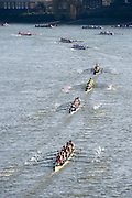 Chiswick, London, Great Britain.<br /> The procession of the <br /> 2016 Schools Head of the River Race, Reverse Championship Course Mortlake to Putney. River Thames.<br /> <br /> Thursday  17/03/2016<br /> <br /> [Mandatory Credit: Peter SPURRIER;Intersport images]