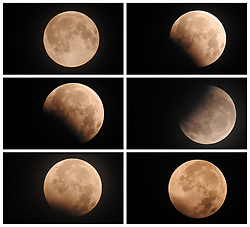 August 8, 2017 - Jianhe, China - Combined showing the progression of a lunar eclipse over Jianhe County in southwest China's Guizhou Province. (Credit Image: © Yang Wenbin/Xinhua via ZUMA Wire)