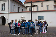 Polish students learn about the Katyn massacre on Grodzka street, on 23rd September 2019, in Krakow, Malopolska, Poland. The Katyn massacre was a series of mass executions of Polish military officers and intelligentsia carried out by Soviet secret police in April and May 1940. Though the killings occurred in several locations, the massacre is named after the Katyn Forest, where some of the mass graves were first discovered.