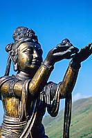 Six statues (Puja Bodhisattva) at foot of Tian Tan giant buddha, Po Lin Monastery, Lantau Island, Hong Kong, China