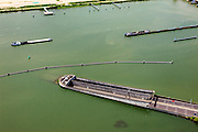 Nederland, Noord-Holland, Amsterdam, 14-06-2012; Buiten-IJ met ring A10 en ingang Zeeburger tunnel, eiland Zeeburg (zeeburger eiland). De tunnel verbindt Amsterdam-Noord met de rest van Amsterdam. Zeeburgertunnel (tunnel) connecting  the north and the south of Amsterdam and the Zeeburgereiland (isle) in between..luchtfoto (toeslag), aerial photo (additional fee required).foto/photo Siebe Swart