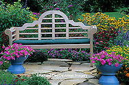 63821-07807 Bench in Bird & Butterfly Flower Garden  Marion Co.  IL