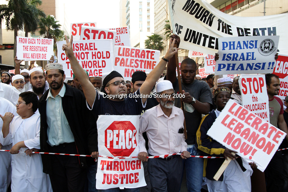 DURBAN -- 11 August 2006 - Protesters march through Durban in protest against Israel's invasion of Lebanon. The marchers first marched to the United States consulate in Durban marching to the Durban City Hall to demand that South Africa impose sanctions on Israel. Picture: Allied Picture Press/APP