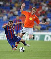Fotball<br /> Kvalifisering Europe League<br /> Basel v KR Reykjavik<br /> 06.08.2009<br /> Foto: EQ Images/Digitalsport<br /> NORWAY ONLY<br /> <br /> Basels Alex Frei gegen Baldur Sigurdsson