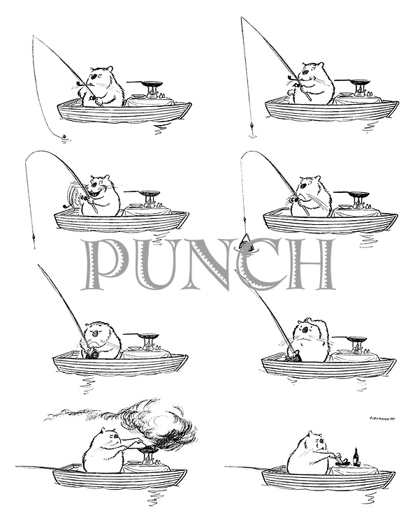 (Max the hamster in a boat on a fishing expedition)