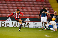 Tyler Smith of Sheffield Utd has a shot on goal during the U18 Professional Development League 2 play off semi final match at  Bramall Lane, Sheffield. Picture date: April 21st 2017. Pic credit should read: Simon Bellis/Sportimage