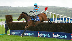 Un De Sceaux ridden by Paul Townend jumps the last to win The BoyleSports Champion Steeplechase during day one of the Punchestown Festival at Punchestown Racecourse, County Kildare, Ireland.
