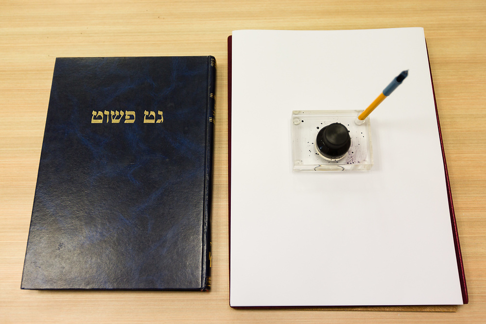 A get (or gett), a document in Jewish religious law which effectuates a divorce between a Jewish couple, at the Rabbinical Court in Jerusalem, Israel, on March 22, 2016.