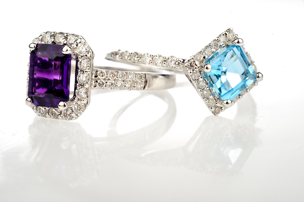 (staff photo by Matt Roth)..Two rings from Berman's Jewelers in Ellicott City set with Amethyst and Blue Topaz...Thursday, April 8, 2010.