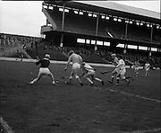 04/10/1970<br /> 10/04/1970<br /> 10 April 1970<br /> All-Ireland Intermediate Hurling Final: Antrim v Warwickshire at Croke Park, Dublin.<br /> Antrim forwards McGarry (center) and McCallin (right) in an attack on the Warwickshire goal (saved by D. Breen, the Warwickshire goalie).